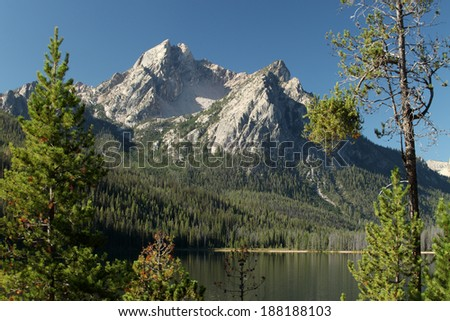 Trees and a mountain vista reflecting in the waters of Beautiful Redfish Lake in central Idaho - stock photo