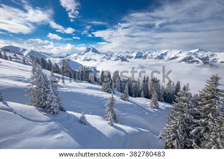Trees covered by fresh snow in Austria Alps from Kitzbuehel ski resort - one of the best ski resort in the workd with 54 cable cars, 170 km prepared skiing slopes and place of famous hahnenkamm races. - stock photo