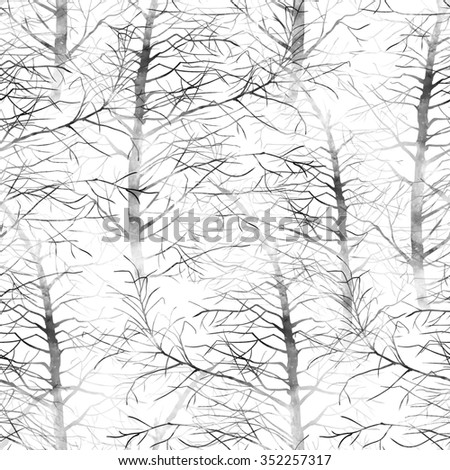 trees in grunge style with watercolor texture - seamless pattern - digital mixed media artwork for textiles, fabrics, souvenirs, packaging, greeting cards and scrapbooking - stock photo