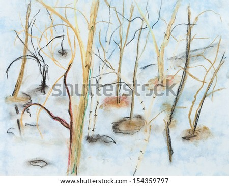 trees in spring thawed patches in snowing forest - stock photo