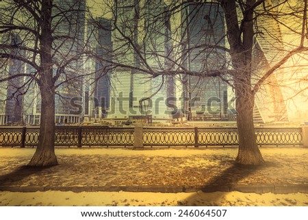 Trees of the old park on the embankment and on the business city center background at spring sunset time. - stock photo