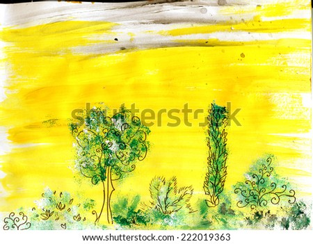 Trees on a yellow background - picture paints - stock photo