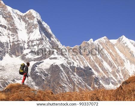 treking in himalayas / backpacker in Annapurna region - stock photo