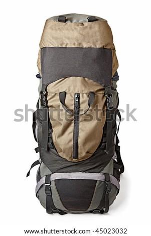 Trekking backpack (rucksack) isolated on white background - stock photo