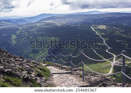 trekking hiking trails in the Giant Mountains in the Czech Republic - stock photo