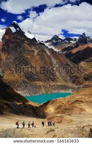 Trekking in Cordiliera Huayhuash, Peru, South America - stock photo