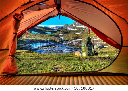 Trekking in Norway - stock photo