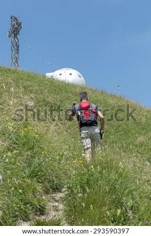 Trekking in the alps - stock photo