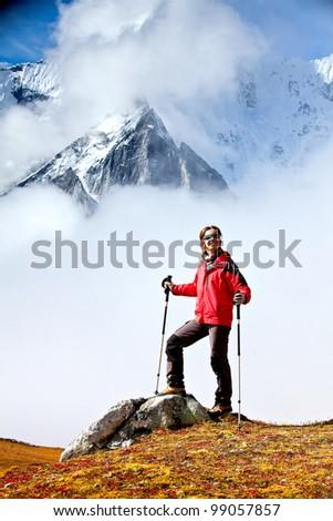 Trekking in the Himalayas - stock photo
