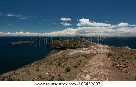 Trekking path on isla del sol, lake titicaca in Bolivia - stock photo