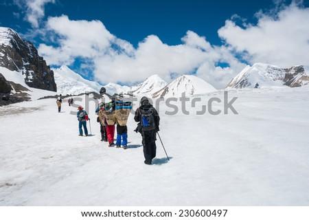 Trekking to Saribung high camp, Upper Mustang, Nepal - stock photo