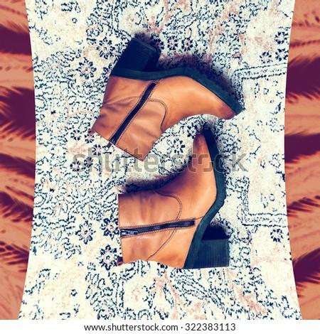 Trend Ladies Shoes. Autumn Winter Style - stock photo