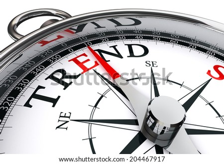 trend prediction conceptual compass isolated on white background - stock photo