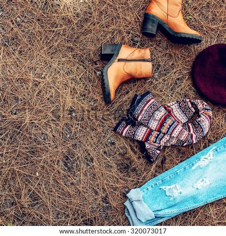 Trendy Autumn Lady Look. Romantic Country Style - stock photo