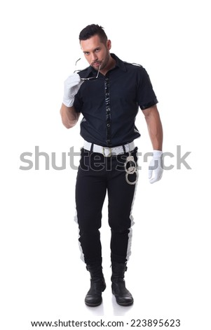Trendy cop posing at camera, isolated on white - stock photo