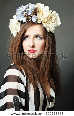 Trendy Fashion Woman with Curly Hair - stock photo