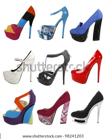 trendy gorgeous shoes collection isolated on white - stock photo