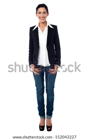 Trendy lady business executive posing in style - stock photo