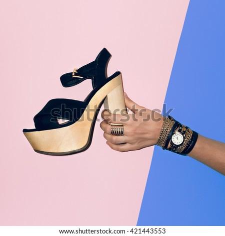 Trendy Look. Black Shoes, black Jewelry. Fashion Style Black Lady - stock photo