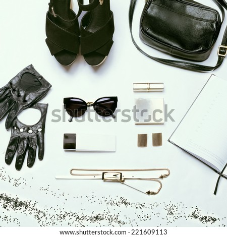 Trendy Stylish youth Black and White set against a white background. - stock photo