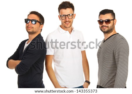 Trendy three friends with sunglasses or eyeglasses isolated on white background - stock photo