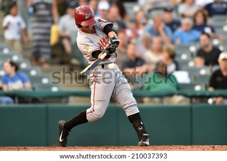 TRENTON, NJ - August 7: Altoona Curve third baseman Drew Maggi (7) bats during the Eastern League minor league baseball game played August 7, 2014 in Trenton, NJ.  - stock photo