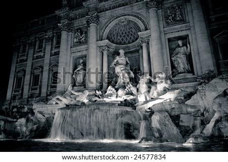 Trevi Fountain at Night - stock photo