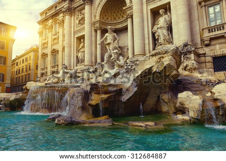 Trevi Fountain (Fontana di Trevi) in Rome. Italy - stock photo