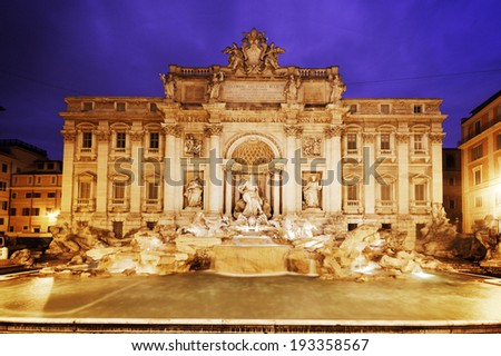 Trevi Fountain (Italian: Fontana di Trevi) in Rome at dusk - stock photo