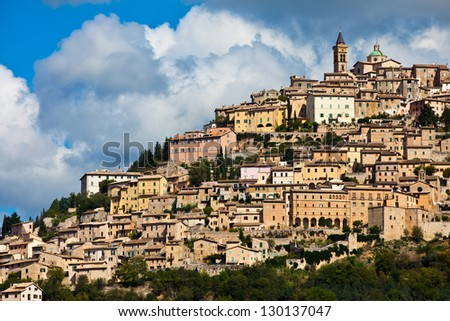 Trevi hillside town - stock photo