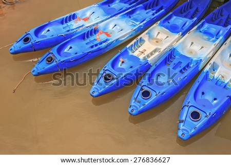 Tri - Kayak stand at the pair in canal, Krabi Province, Thailand - stock photo