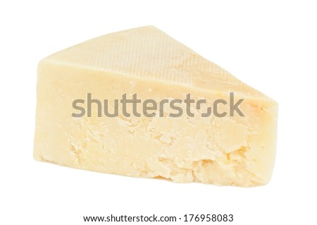 triangle of cheese on white - stock photo
