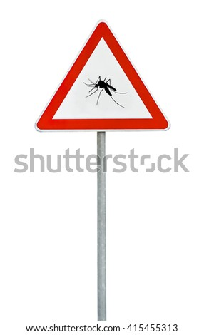 Triangle on rod road sign mosquito attention - stock photo