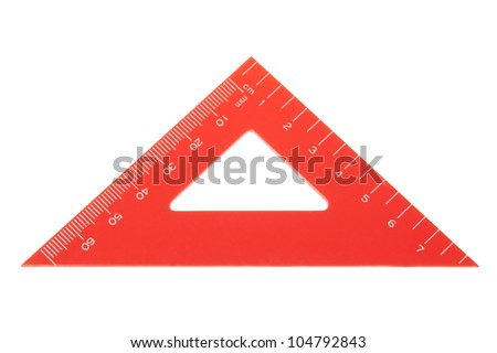 Triangle protractor closeup. On a white background. - stock photo