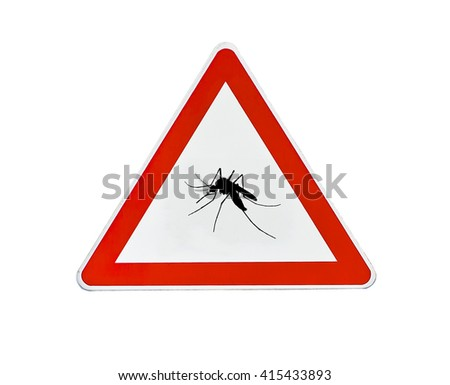 Triangle road sign mosquito attention - stock photo