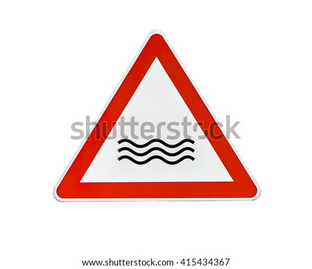 Triangle road sign river attention - stock photo