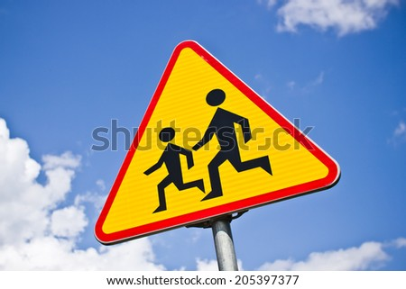 Triangle road sign warning of children. - stock photo