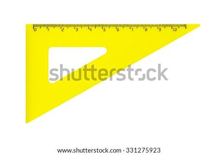Triangle ruler isolated on white background - stock photo