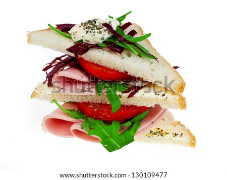 triangle sandwich isolated on white background - stock photo