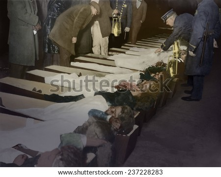 Triangle Shirtwaist fire victims in coffins at the morgue, March 25 1911, photo illustration with digital color. - stock photo