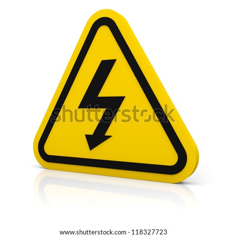 Triangle sign with high voltage symbol isolated on white - stock photo