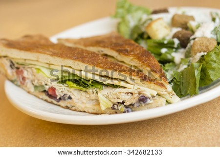 Triangle sliced grilled chicken panini with caesar salad - stock photo