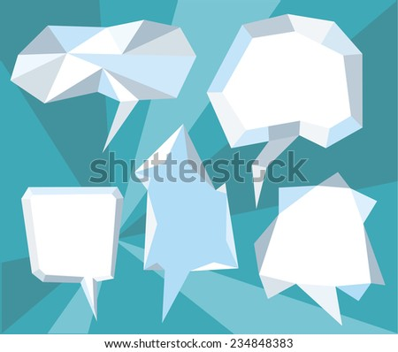 Triangular 3d bubble speech. Set of comic bubbles and elements with on stylish background cartoon design style. Raster version - stock photo