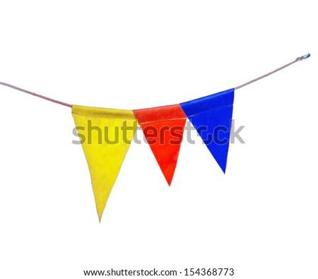 triangular flags isolated on white background - stock photo