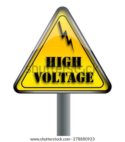 Triangular High Voltage Warning Sign - stock photo