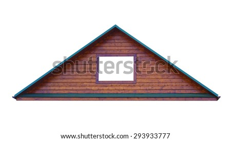 triangular metal roof isolated on white background, window's color also white  - stock photo