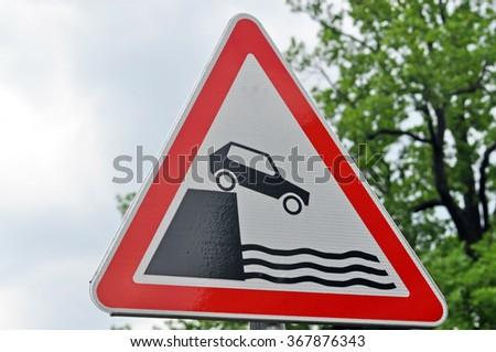 Triangular road sign.It warns of the entrance to the waterfront. Russia - stock photo
