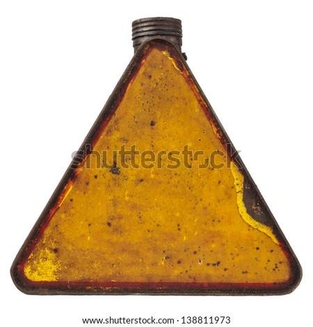 Triangular rusty yellow vintage fuel can isolated on a white background - stock photo