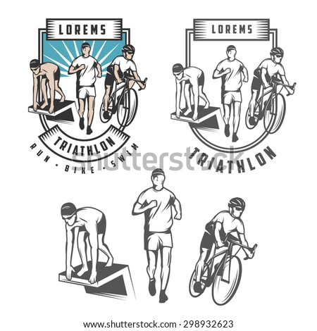 Triathlon emblems and design elements - stock photo