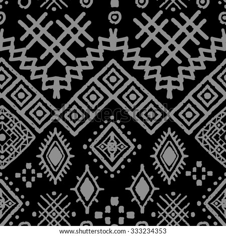 Tribal art boho seamless pattern. Ethnic geometric print. Aztec repeating background texture in black and gray. Fabric, cloth design, wallpaper, wrapping - stock photo